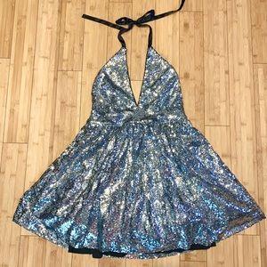 Charlotte Russe Silver sequins part dress size L